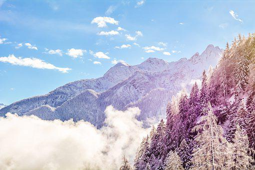 Mountains, Winter, Fog, Clouds, Snow, Wintry, Foggy