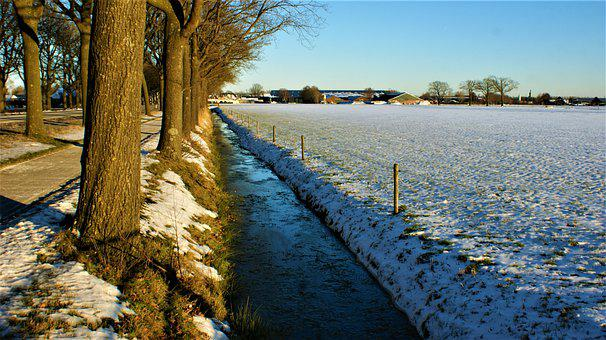 Fence, Nationwide, Snow, Field, Nature, Landscape