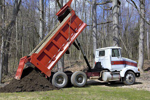 Dump Truck, Red, White, Dumping, Black Dirt, Soil