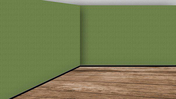 Empty Room, Wood Floor, Green, Walls, Space