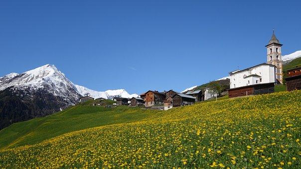 Spring, Mountains, Dandelion, Church, Vrin, Graubünden