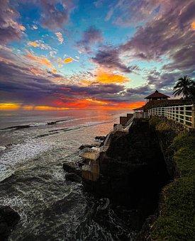 Beach, Freedom, El Salvador, Summer, Sunset, Sky, Rocks