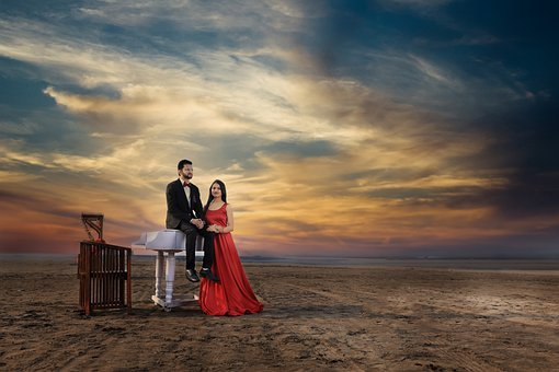 Couple, Piano, Lovers, Sunset, Beach, Marriage