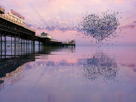 Valentine, Love Heart, Heart, Sea, Reflection, Pier