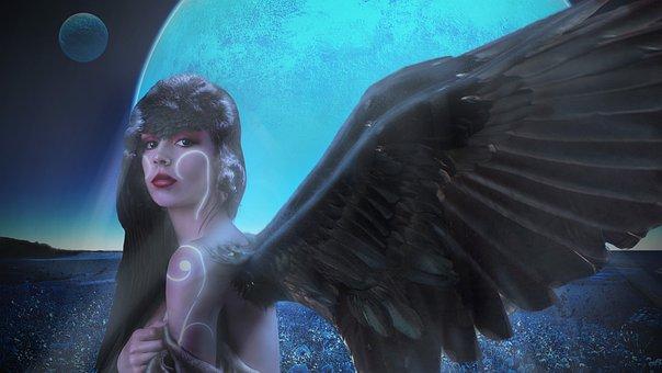 Woman, Wings, Crow, Moon, Supernatural, Anthropomorphic