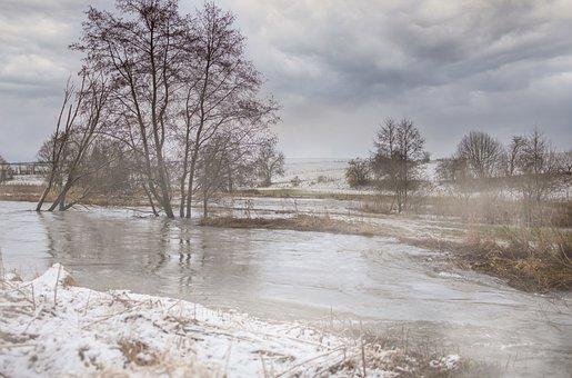 Wintry, River, Fog, Mist, Flood, Winter, Snow