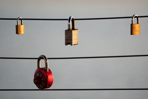 Locks, Wire, Hanging, Lines, Key, Surreal, Creative