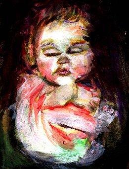 Baby, Sleep, Painting, Infant, Girl, Little, Young