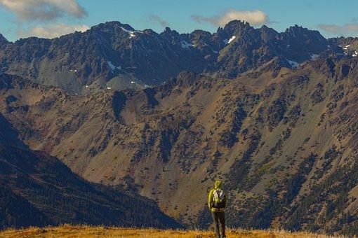 Mountains, Hiking, Man, Person, Backpacking, Trekking