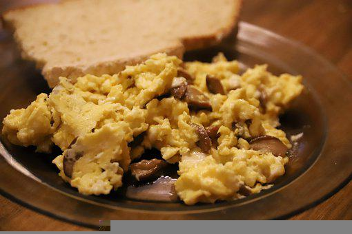 Scrambled Eggs, Eggs, Bread, Breakfast, Meal, Delicious