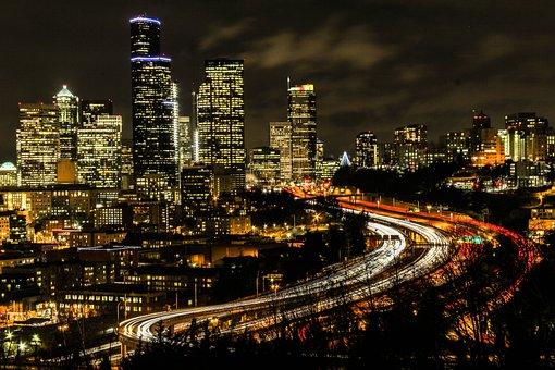 City, Buildings, Night, Road, Skyscrapers, City Lights