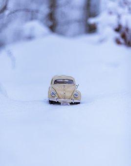 Toy, Car, Snow, Volkswagen Beetle, Toy Car, Model Car