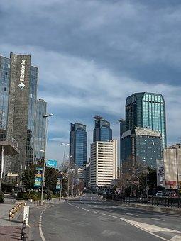 City, Business, Buildings, Bank, Skyscrapers, Road