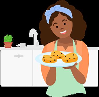 Girl, Cook, Chef, Cookies, Kitchen, Smile, Joy