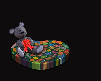 Heart, Valentine, Teddy Bear, Decoration, Background