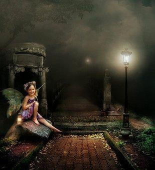 Fantasi, Gadis Kecil, Sayap, Duduk, Batu, Rumput, Pohon