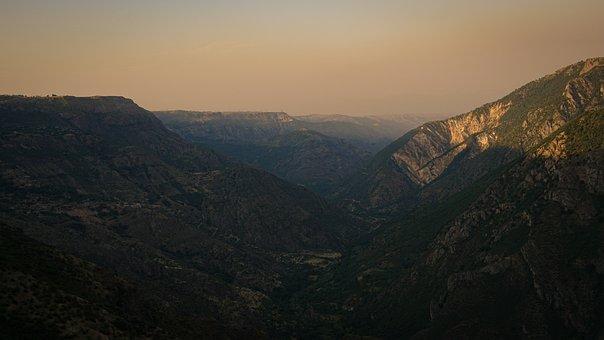 Mountains, Valley, Sunset, Panorama, Peak, Summit, Fog