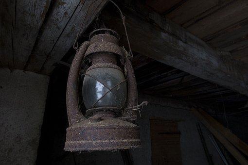 Lamp, Old, Light, Antique, Night, Black, Glass, Metal