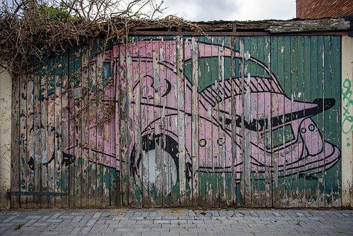 Car, Volkswagen, Graffiti, Door, Gate, Beetle, Garage