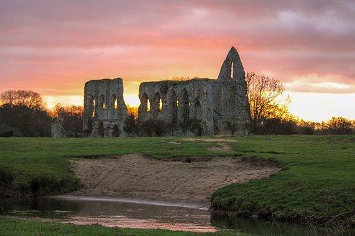 Sunrise, Abbey, Ruin, Church, Sky, Morning, Historic
