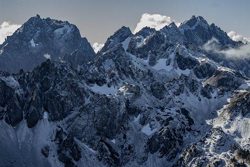 Mountains, Peak, Snow, Fog, Clouds, Summit, Landscape