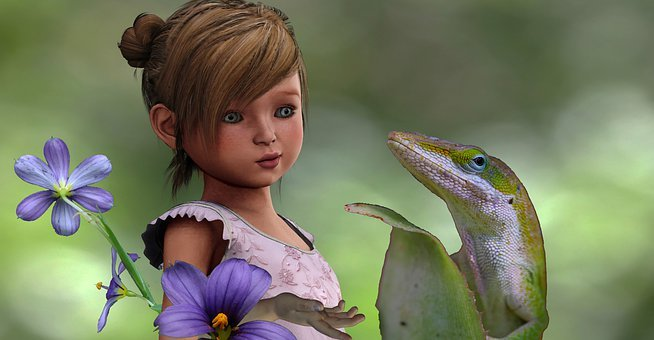 Girl, Lizard, Flowers, Child, Reptile, Cute, Joyful