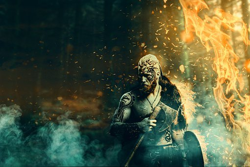 Viking, Armor, Fire, Fantasy, Forge, Smoke, Male