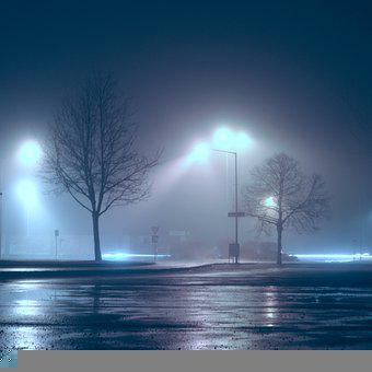 Fog, Foggy, Mist, Misty, Evening, Night, Light, Car