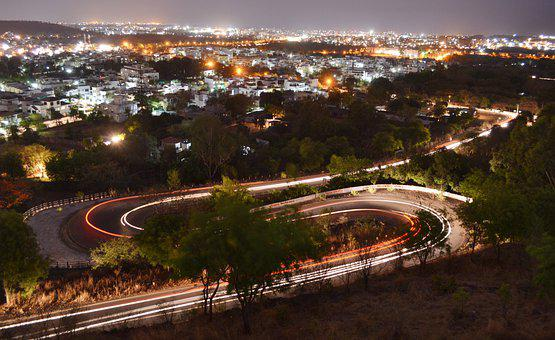Night View Of Bhopal, India, Night View, Spiral Road