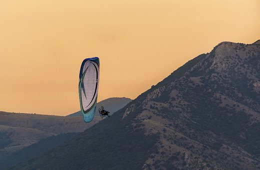Paragliding, Mountains, Sunset, Sport