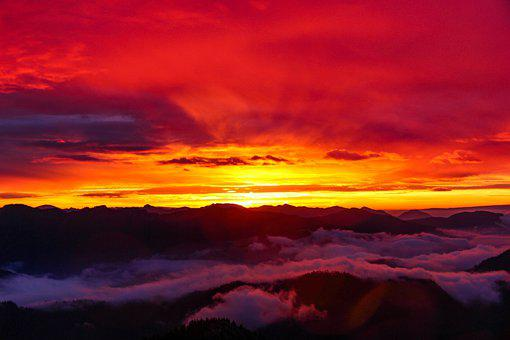 Mountains, Clouds, Sunset, Sunrise, Sunlight, Peak