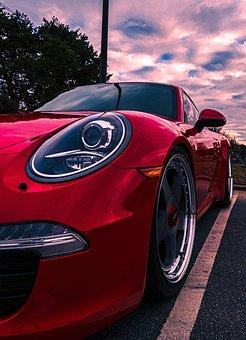Cars, Porsche, Vehicle, Luxury, Sporty, Auto, Sunset