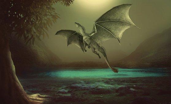 Dragon, Reptile, Monster, Creature, Swamp, Lake, Fog