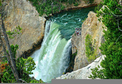 Waterfall, Canyon, Gorge, River, Valley, Wyoming