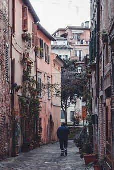 Building, Street, Road, Alley, Person, Pedestrian
