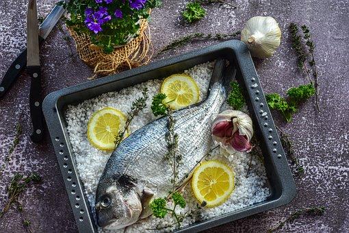 Fish, Lemon, Salt, Raw, Sea Bream, Fresh, Gilthead