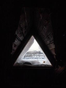 Window, Triangle, Snow, Triangle Window, Building, Wood