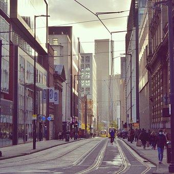 Street, Tramway, City, People, Crowd, Road, Pavement