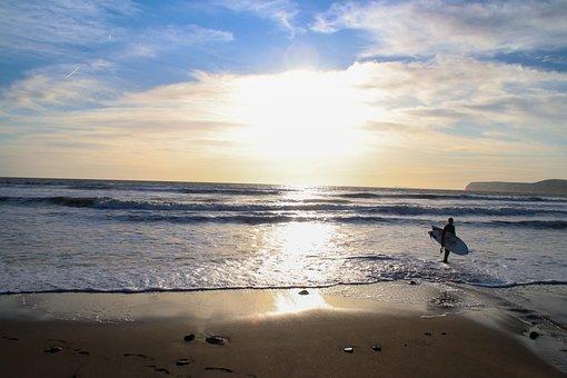 Surfer, Sunset, Dawn, Surf, Surfboard, Sea, Beach