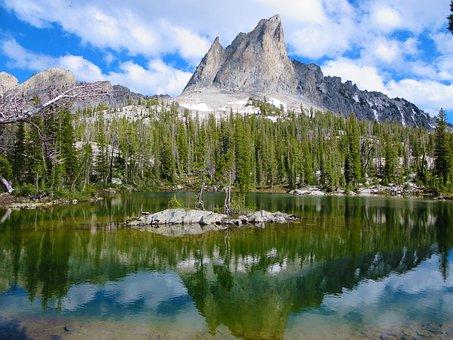Mountain, Lake, Sawtooth, Trees, Sky, Idaho, Pine Trees