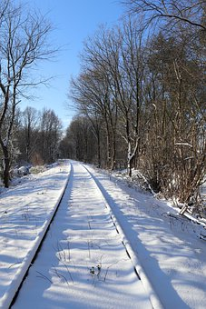 Winter, Snow, Railway, Wintry, Cold, Trees, Forest, Sun