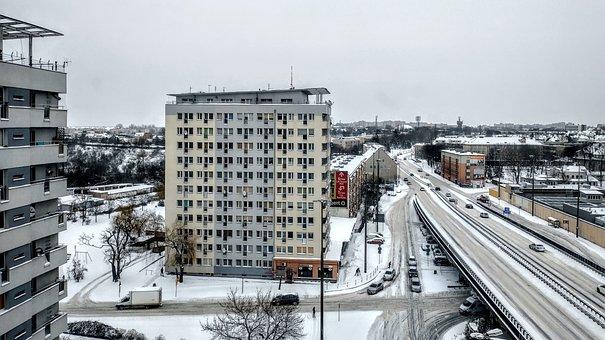 Highway, Road, Street, Buildings, Snow, Views