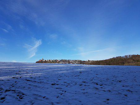 Landscape, Field, Snow, Winter, Wintry, Nature
