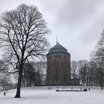 Winter, Park, Toboggan, Water Tower, Snow, Cold, Tree