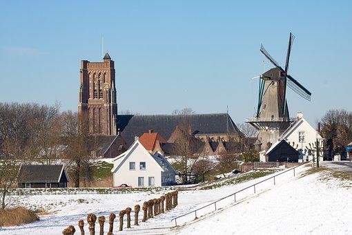 Woudrichem, Altena, Snow, Mill, Church, Winter
