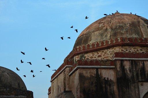 Tomb, Sky, Landscape, Old, Monument, Birds