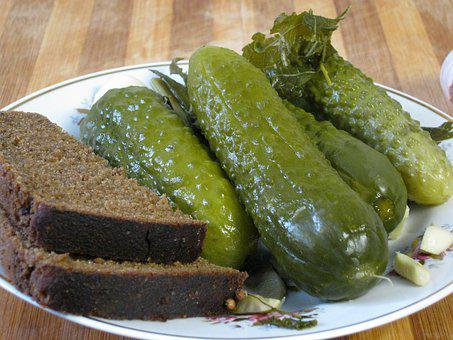 Pickled Cucumbers, Bread, Appetizer, хлеб