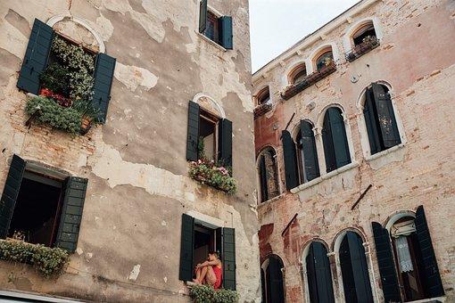 Buildings, Facade, Windows, Old Buildings, Wall