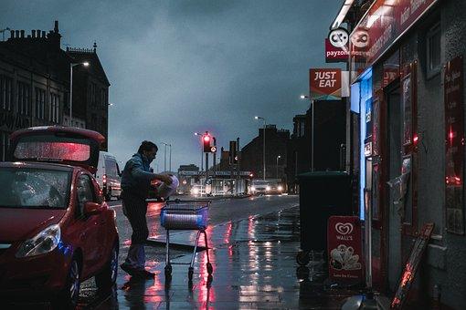Man, Street, Store, Rain, Business, Weather, Night