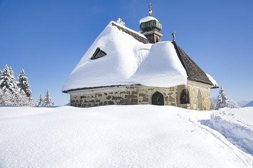Chapel, Church, Winter, Landscape, Religion, Catholic